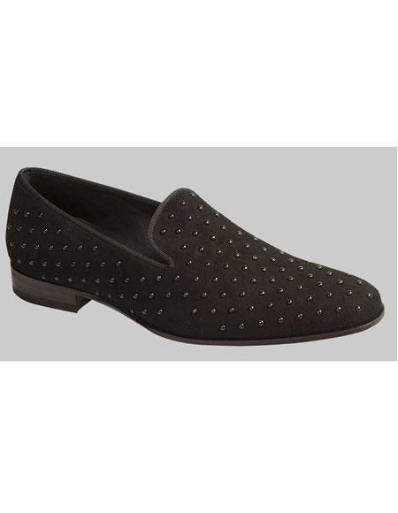 Men's Black Suede Slip On Italian Style dress Shoes Mezlan Brand
