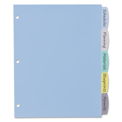 Avery@ Big Tab Write and Erase Durable Plastic Dividers 1 Set - 5 Tabs