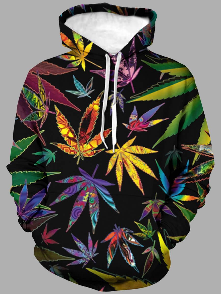 LW Lovely Street Hooded Collar Leaf Print Multicolor Men Hoodie