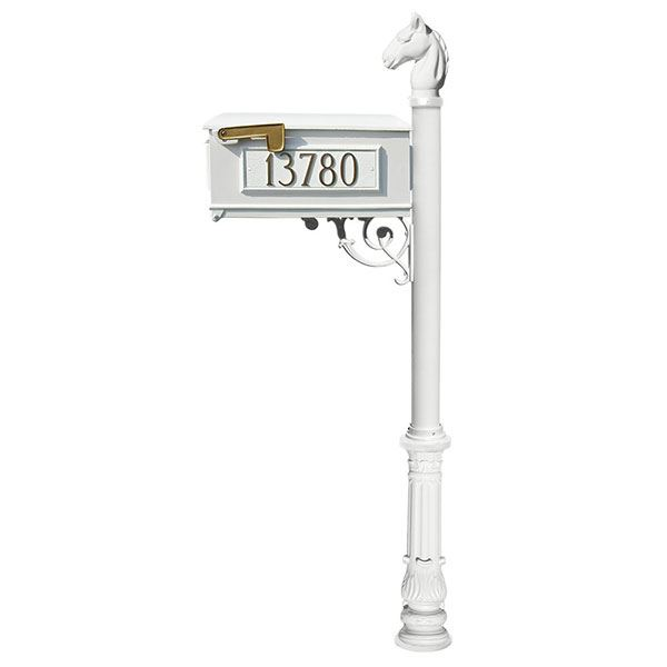 Lewiston Equine Mailbox with Post, Horsehead Finial, and Ornate Base, White with Gold Lettering