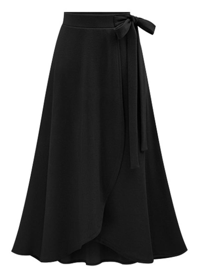 Ericdress Plus Size Plain Bowknot Asymmetrical High Waist Skirt