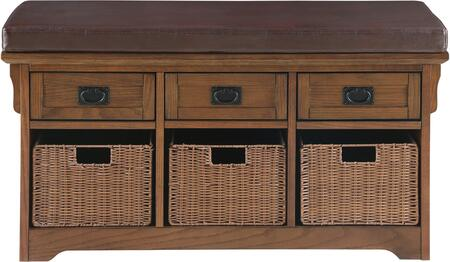 501061 Small Storage Bench With Upholstered Seat by Coaster  Three Baskets and Three Drawers for Storage Space  in Warm