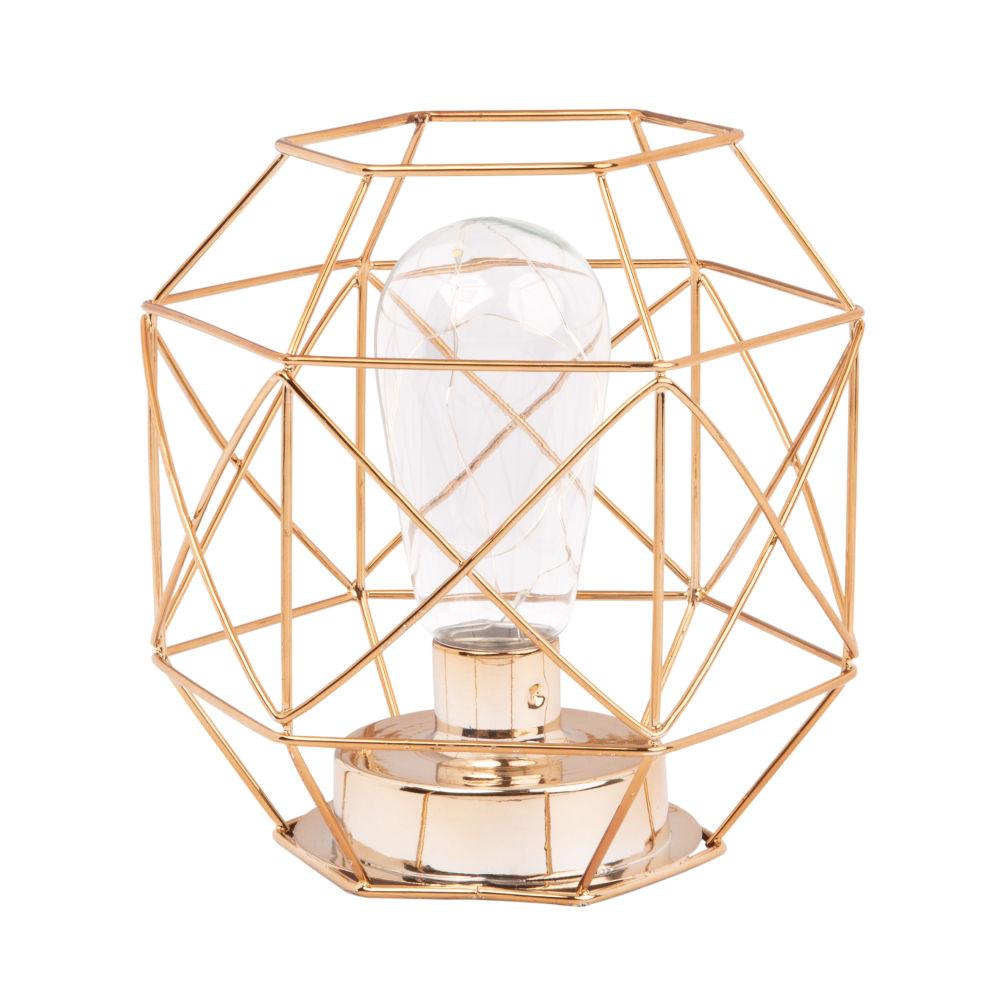 Lampe aus kupferfarbenem Metalldraht