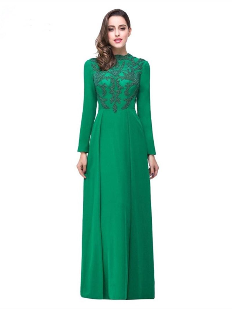 Ericdress Long Sleeves Jewel A-Line Beading Floor-Length Evening Dress