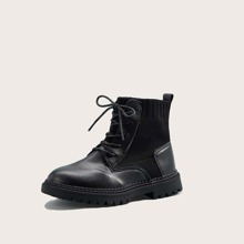 Girls Lace-up Front Knit Detail Boots