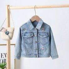 Toddler Girls Letter Embroidered Denim Jacket