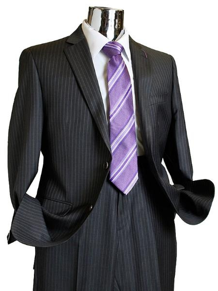 2 Button Charcoal Pinstripe Wool Suit Mens