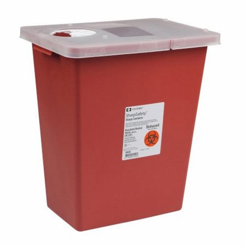 Sharps Container SharpSafety 1-Piece 17-1/2 H X 15-1/2 W X 11 D Inch 8 Gallon Red Hinged Lid - 1 Each by Cardinal