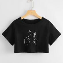 Camiseta corta con estampado de figura
