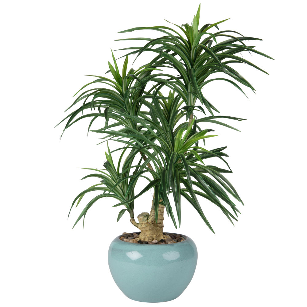 Kuenstliche Yukka-Palme im Keramiktopf