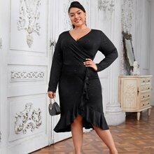 Kleid mit Punkten Muster, asymmetrischem Saum und Rueschenbesatz