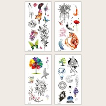 4pcs Floral & Butterfly Pattern Tattoo Sticker