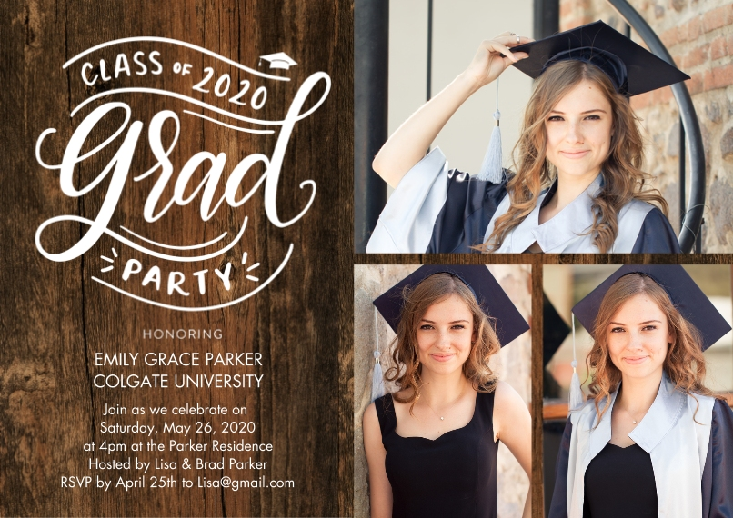 2020 Graduation Invitations 5x7 Cards, Premium Cardstock 120lb with Rounded Corners, Card & Stationery -2020 Grad Party Script by Tumbalina