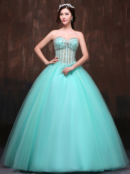 Milanoo Pageant Dresses Women Mint Green Strapless Tulle Beaded Sweetheart Luxury Quinceanera Dress