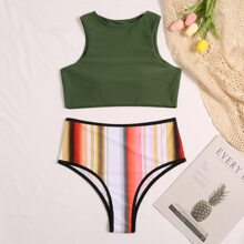 Striped High Waisted Bikini Swimsuit