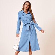 Flap Pocket Button Front Belted Denim Dress