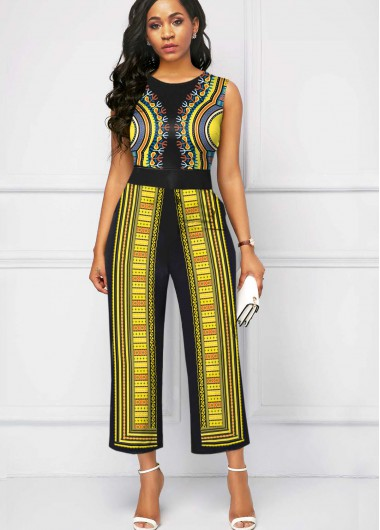 Women'S Yellow Tribal Print Sleeveless Formal Jumpsuit Round Neck Wide Leg Boot Cut Jumpsuit By Rosewe - 18
