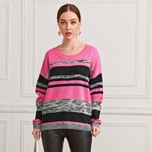 Pullover mit sehr tief angesetzter Schulterpartie, Farbblock und Streifen
