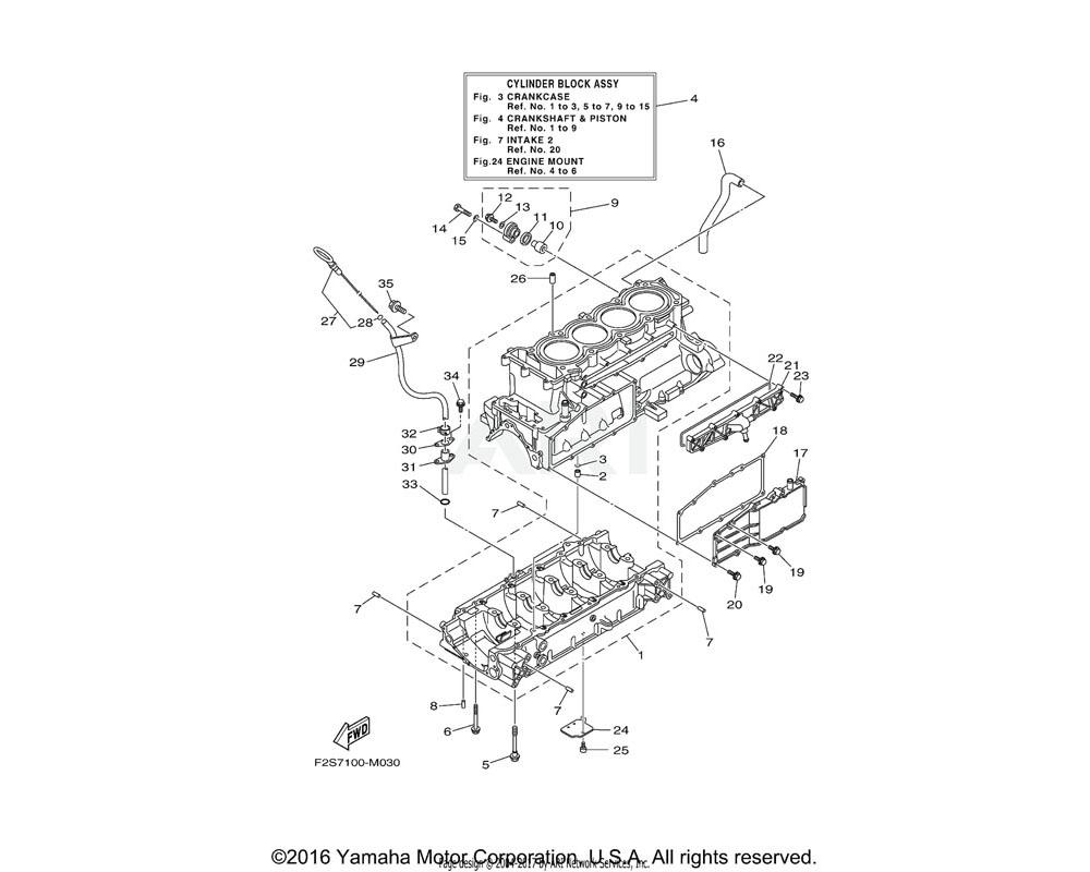 Yamaha OEM 6CS-W009B-18-94 CYLINDER BLOCK ASSY