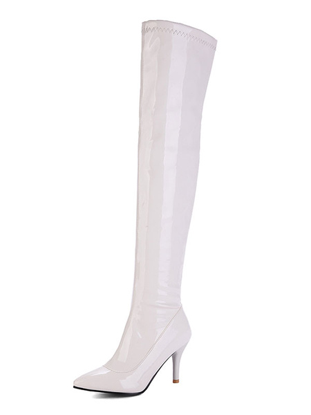 Milanoo Over The Knee Boots Womens Patent PU Pointed Toe Stiletto Heel Winter Boots