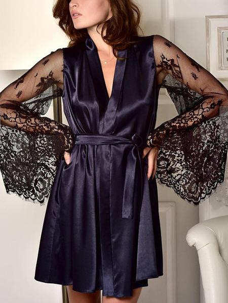 Yoins Belted Lace patchwork Bell Sleeves Lingeries Set