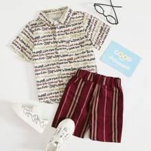 Hemd mit ueberallem Buchstaben Muster & Shorts mit Streifen