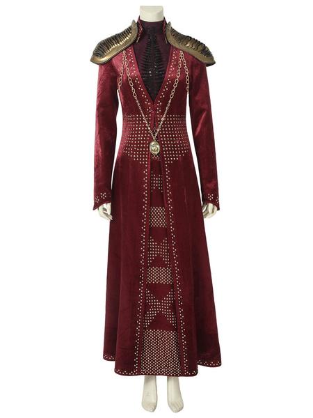 Milanoo TV Drama Game Of Thrones Season 8 Cosplay Costume GOT Cersei Lannister Red Cosplay Set Halloween