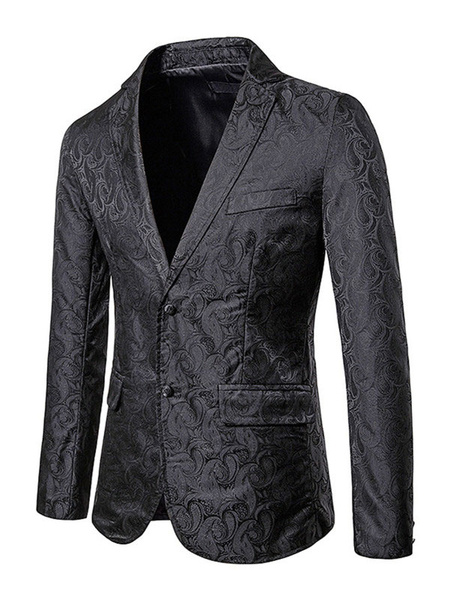 Milanoo Men\s Casual Suits Printed Chic Black Black Cool Man\s Casual Suits