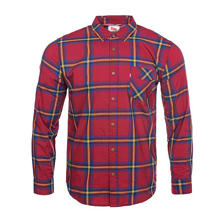 Levi's Mens Long Sleeve Plaid Button-Down Shirt, X-large , Red