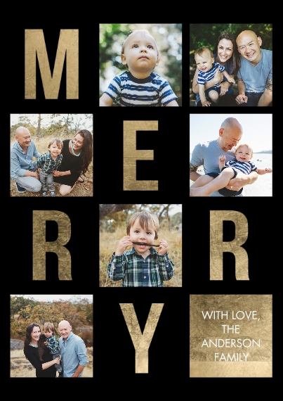 Christmas Photo Cards 5x7 Cards, Standard Cardstock 85lb, Card & Stationery -Christmas Merry Letters