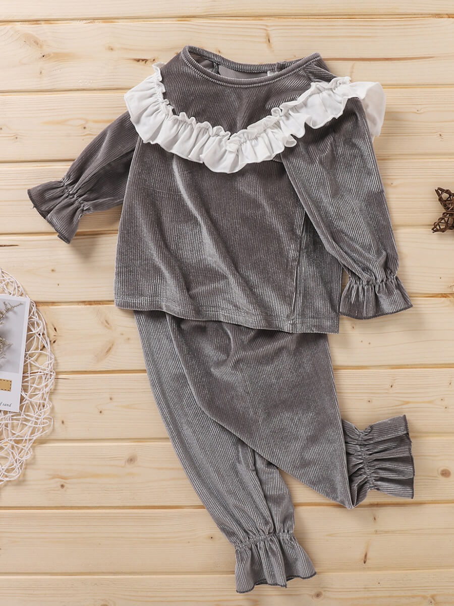 LW Lovely Sweet O Neck Flounce Design Patchwork Grey Girl Two-piece Pants Set