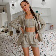 Glamaker Tartan Cami Top & Shorts Set With Blazer