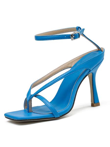 Milanoo Spool Heel Sandals Black Open Toe Ankle Strap Thong Sandals for Women