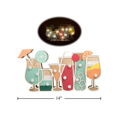Crafty Wood Cocktail Drink Marquee Light, 12-Light LED Sign, 13.25 x 7 x 1.25