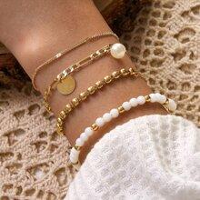 4 piezas pulsera con perla artificial