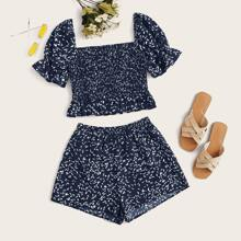 Plus Allover Print Shirred Peplum Top & Shorts Set