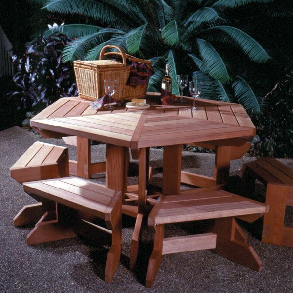 Woodworking Project Paper Plan to Build Picnic Table & Benches