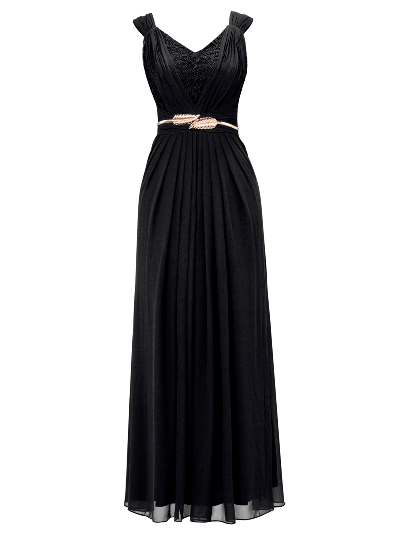 Ericdress Lace Pleated Chiffon A-Line Evening Dress