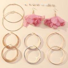 9 pares pendientes con perla artificial con flor de malla