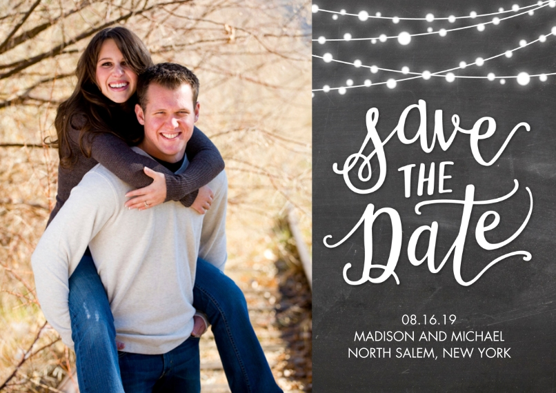 Save the Date Flat Glossy Photo Paper Cards with Envelopes, 5x7, Card & Stationery -Save the Date String of Lights by Tumbalina