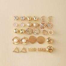 14pairs Rhinestone Decor Stud Earrings