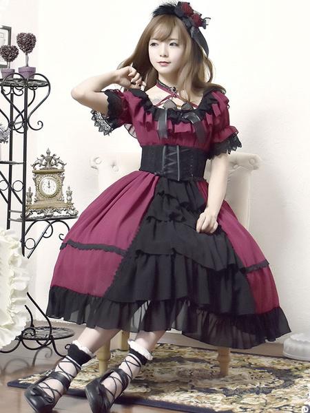 Milanoo Lolita Wedding Dress OP One Piece Colorful Fairytale Lace Bow Ruffled Cross Front Lolita Dress