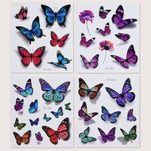 4sheets Butterfly Pattern Tattoo Sticker