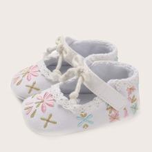 Baby Maedchen Schuhe mit Blumen Stickereien