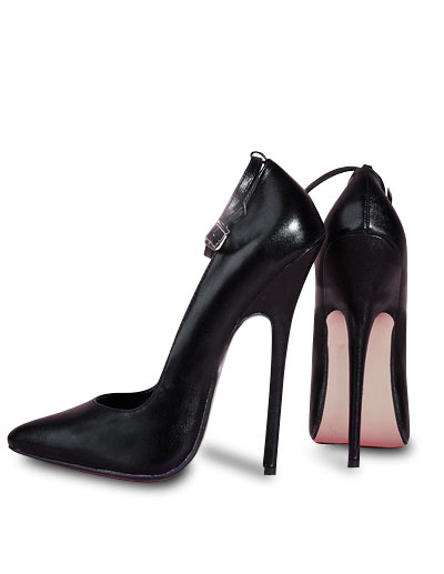 Milanoo High Heel Ankle Straps Cowhide Black Pumps
