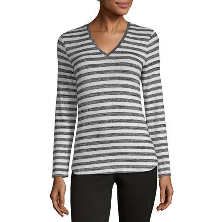a.n.a Womens V Neck Long Sleeve Tunic Top, X-large , Black