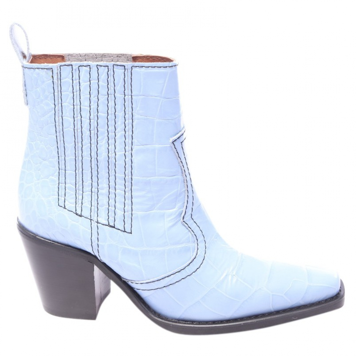 Ganni - Boots   pour femme en cuir - bleu