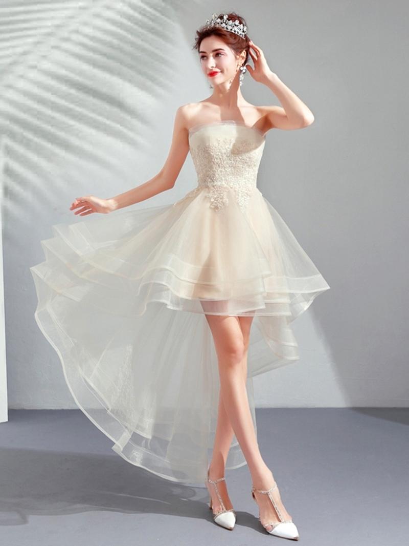 Ericdress Strapless Asymmetry Sleeveless Appliques Homecoming Dress
