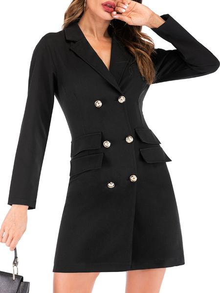 Milanoo Women Blazer Stylish Turndown Collar Buttons Long Sleeves