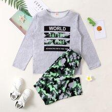 Schlafanzug Set mit Camo und Buchstaben Grafik